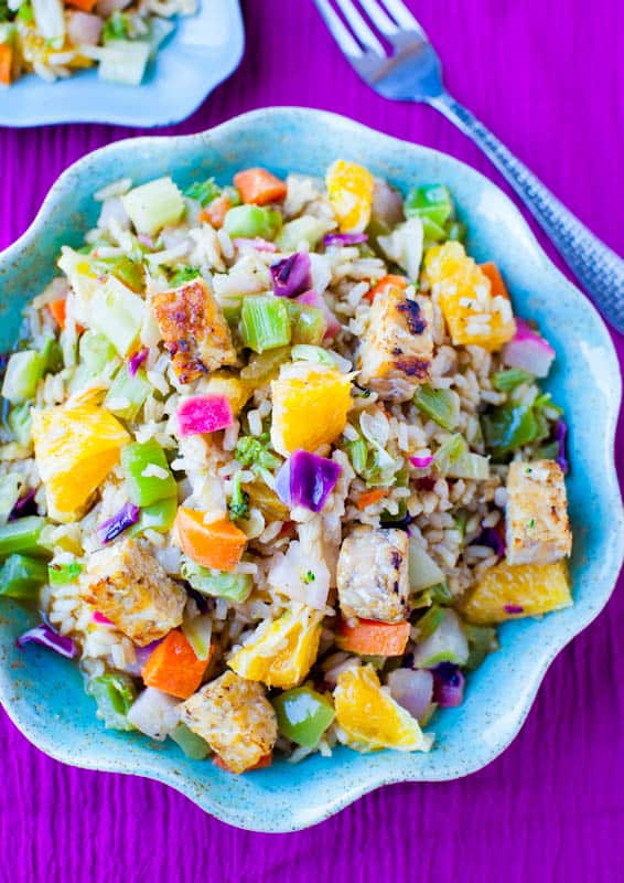 Orange Ginger Tempeh and Brown Rice Salad with Orange Balsamic Vinaigrette