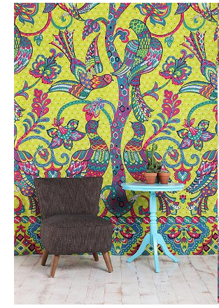 Peacocks and Trees Tapestry behind chair and table