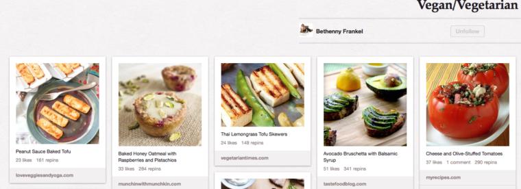 Pins of Food on Bethenny Frankel's Vegan/Vegetarian Board