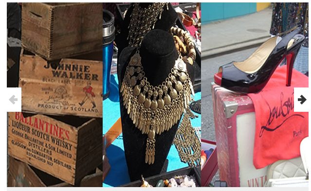 Crates stacked on top of each other, necklaces, and shoes