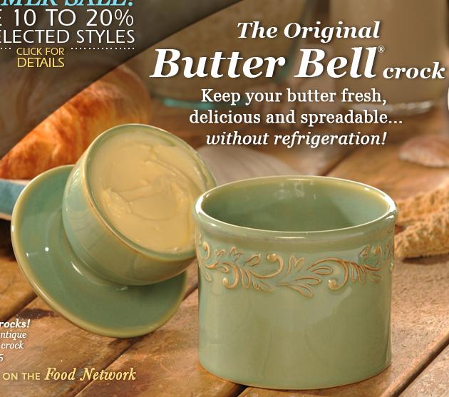 The Original Butter Bell Crock advertisement blue container