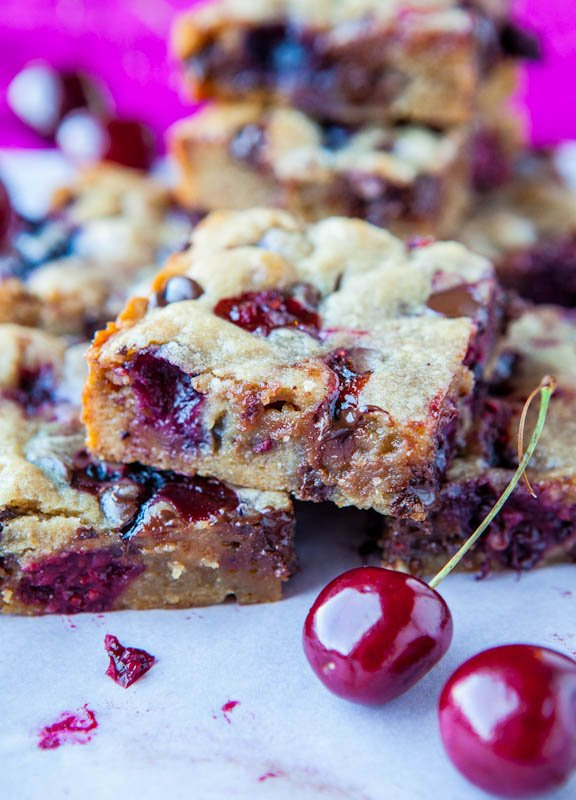 Chocolate Chip and Cherry Blondies - Averie Cooks