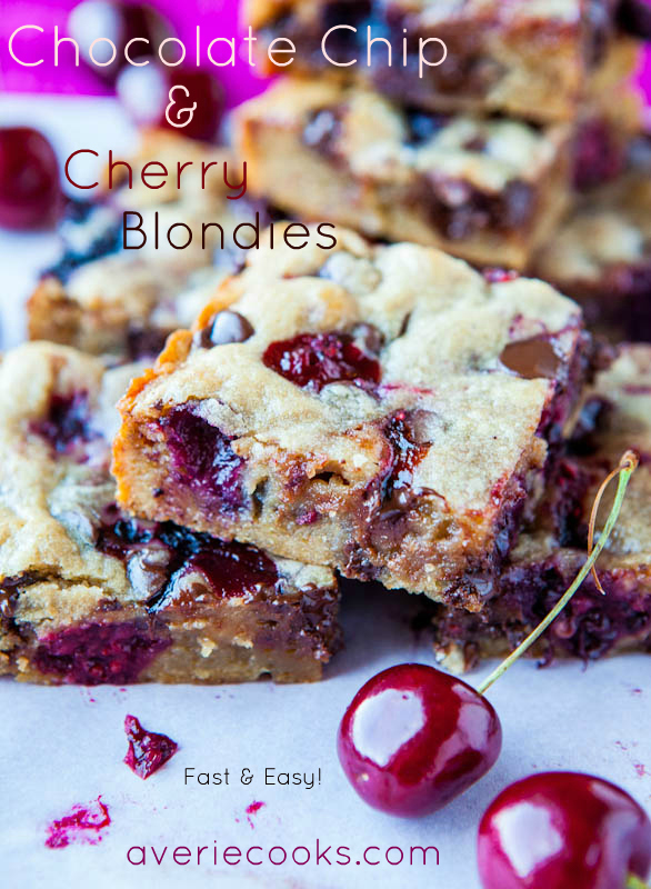 These cherry bars use my favorite blondie base and turn out perfectly every single time! You can use fresh or frozen cherries, or a blend of mixed berries. #cherry #cherryrecipe #dessertrecipe #blondies #easydessert