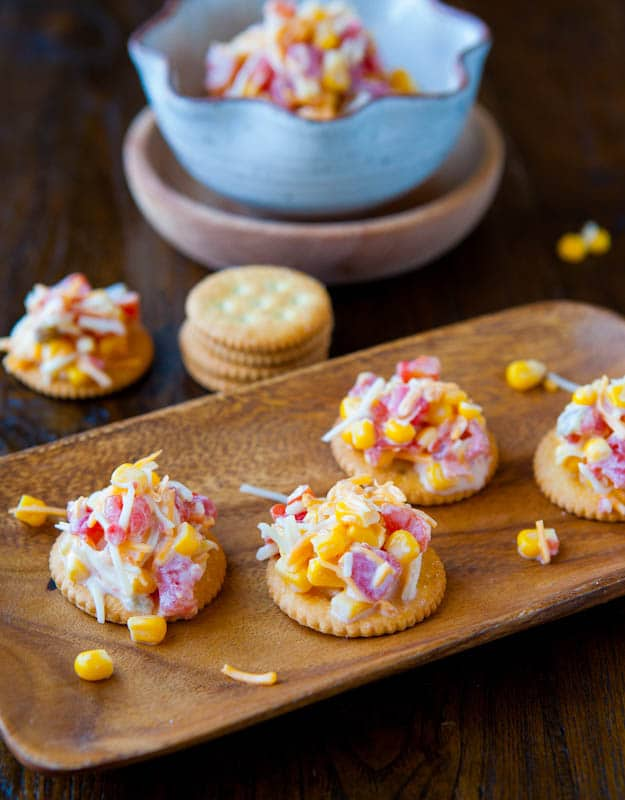 Corn and Double Cheese Dip on crackers
