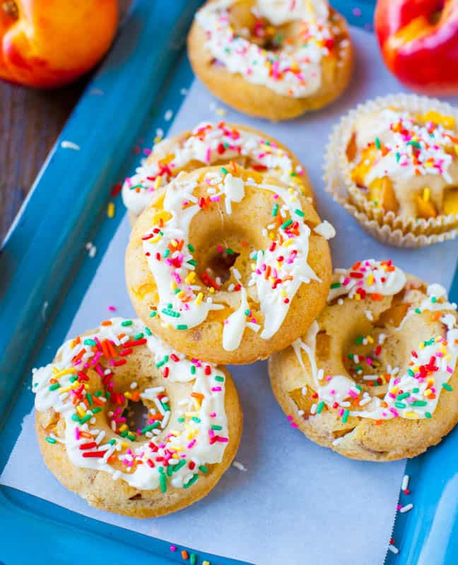 Baked Peach and Nectarine Donuts with White Chocolate