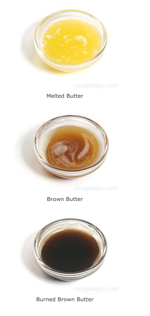 Melted butter, brown butter, burned brown butter examples