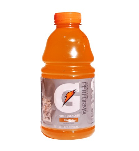 Orange gatorade bottle