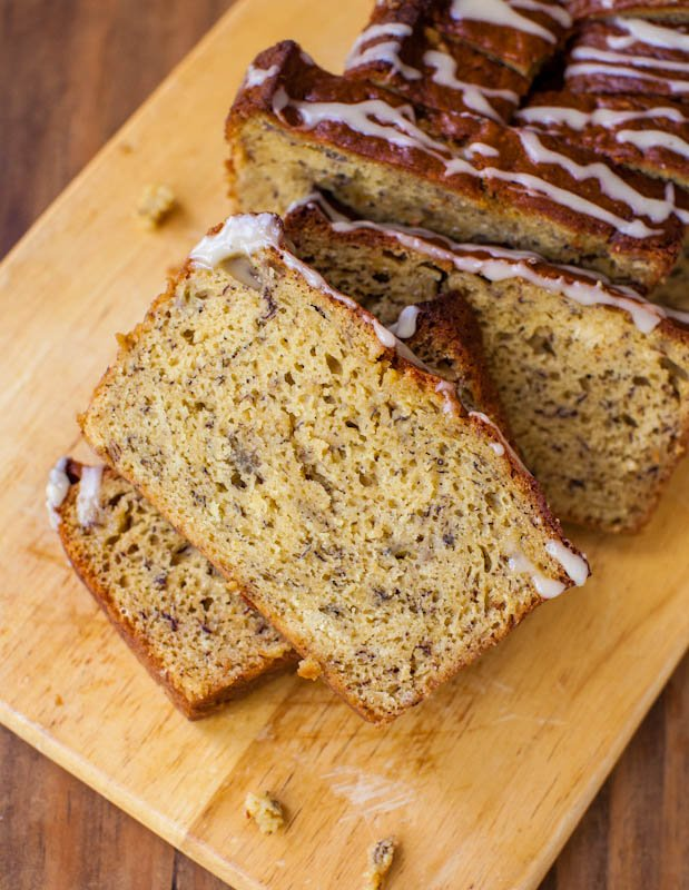 Banana bread with vanilla glaze