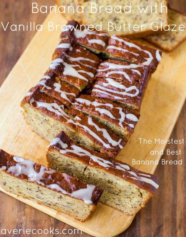 Banana Bread with Vanilla Browned Butter Glaze sliced