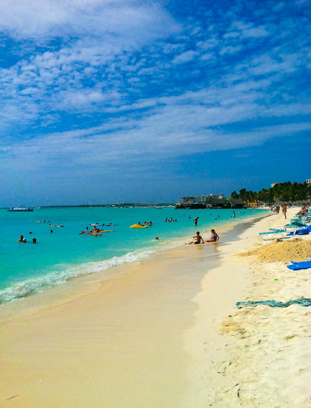 Aruba beach and sand with ocean and blue sky