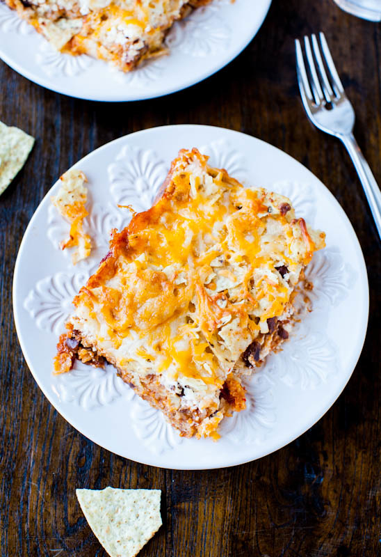 Chips and Chili Cheese Casserole on white plate