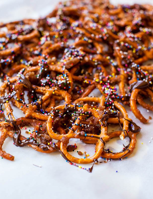 Cinnamon Sugar Chocolate Pretzels