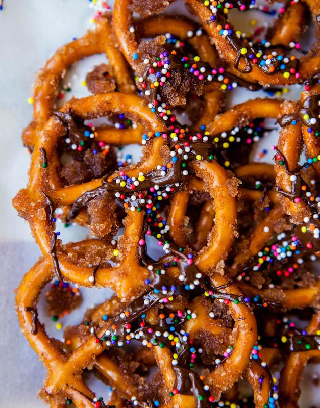 Cinnamon Sugar Chocolate Pretzels
