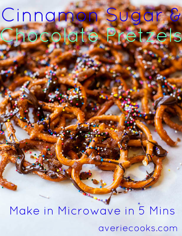 Cinnamon Sugar Chocolate Pretzels (no-bake) - Salty-and-sweet, ready in 5 minutes! So addictively good!