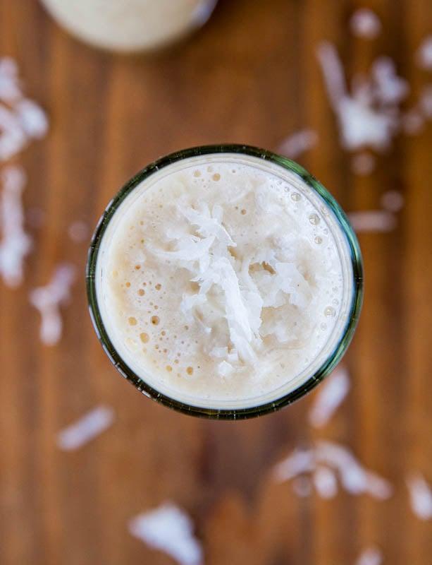 Coconut Cream Pie Smoothie (vegan, GF) - Tastes like a slice of coconut cream pie! Creamy, smooth, & no sugar added!