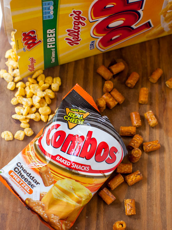 Pops corn cereal and cheddar cheese pretzel combos snacks