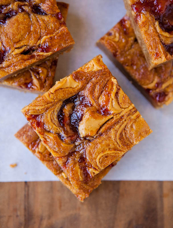 Overhead of stacked Peanut Butter & Jelly Blondies
