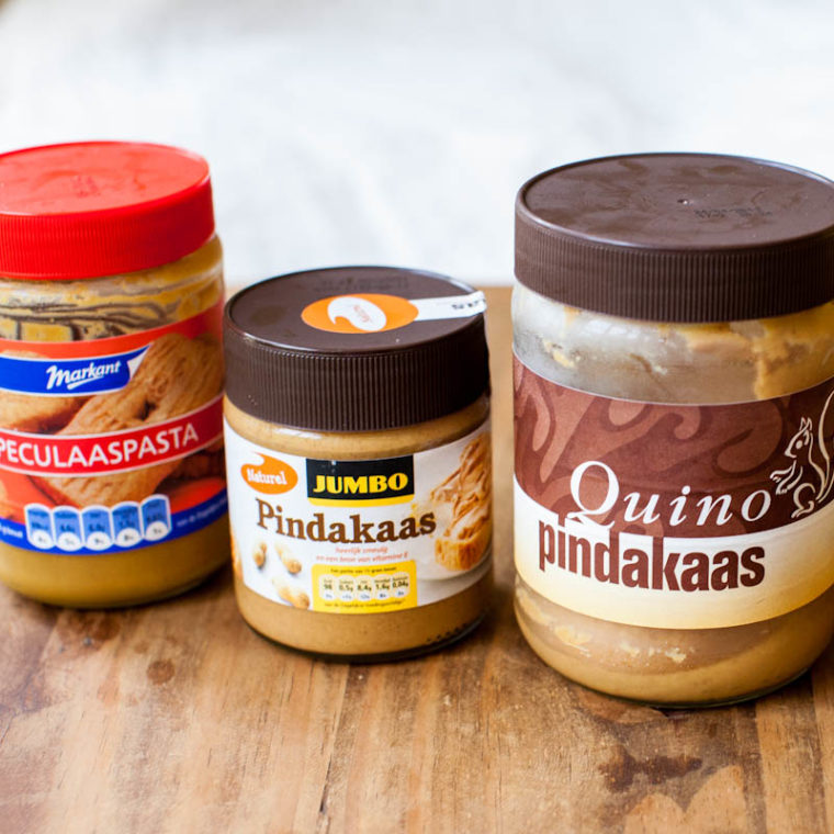 Cookie butter jar, jumbo pindakaas jar, and quino pindakaas jar