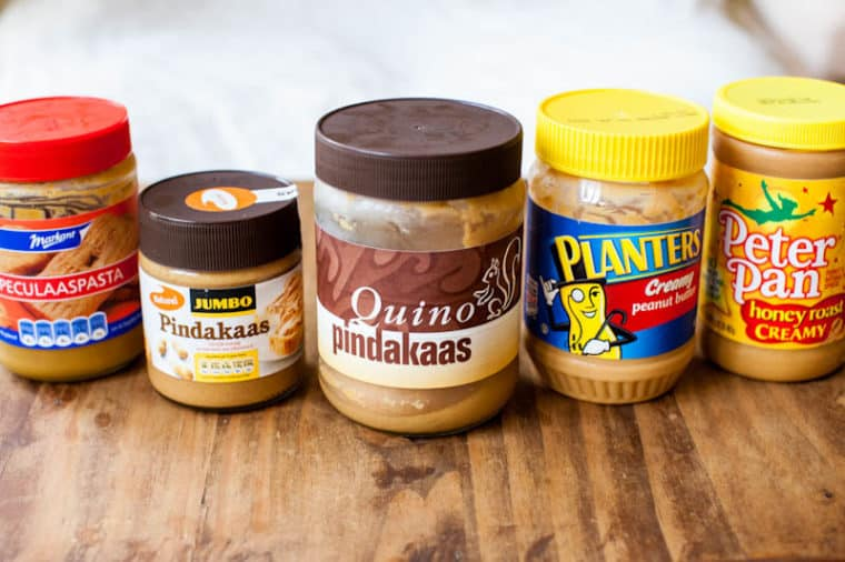 Five different kinds of peanut butter: cookie btuter, Pindakaas, Quino Pindakaas, Planters and Peter pan
