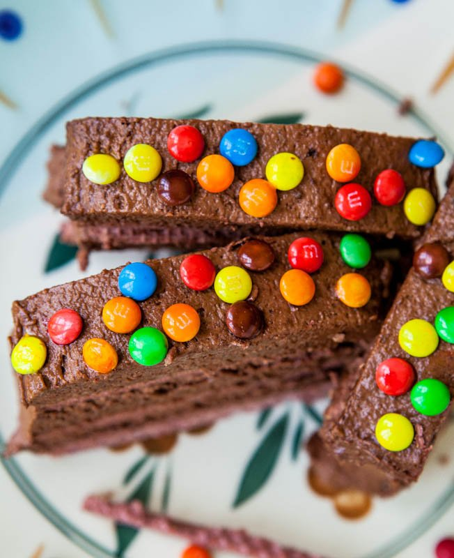 Frozen Chocolate Pudding and Wafer Cake with m&ms on top