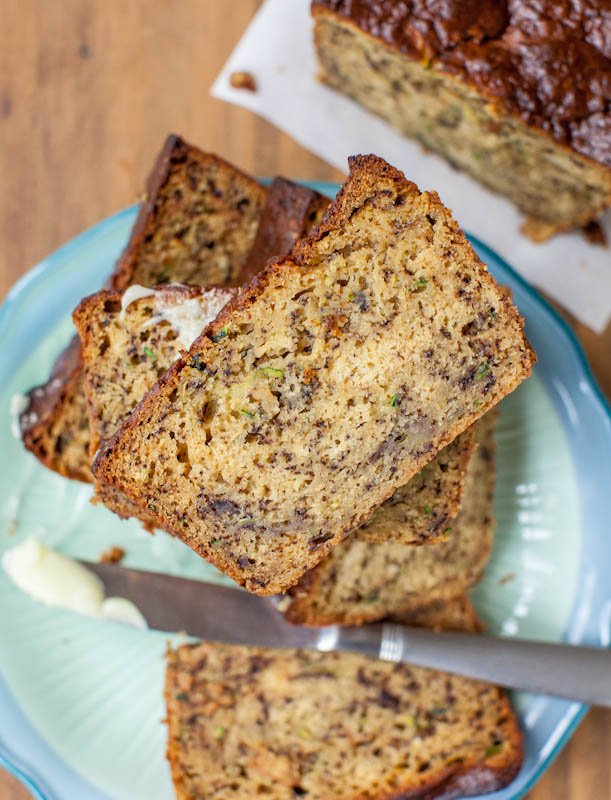 Zucchini Banana Bread with Browned Butter Cream Cheese Frosting