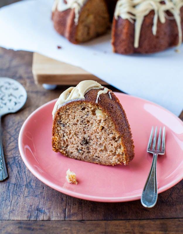 Spiced Apple and Banana Bundt Cake with Vanilla Caramel Glaze slice