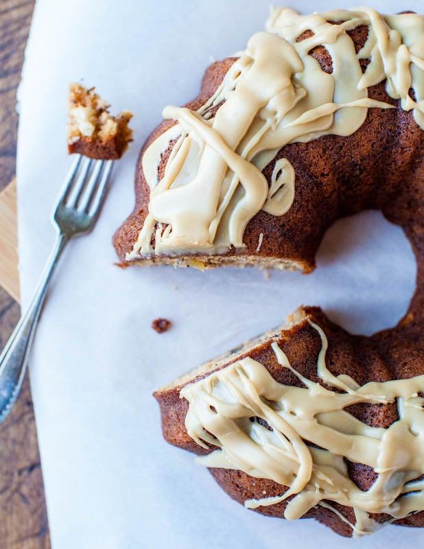 Vanilla Caramel Glaze on apple bundt cake