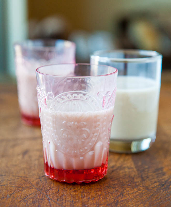 Bananas Foster Shooters in red and clear shotglasses