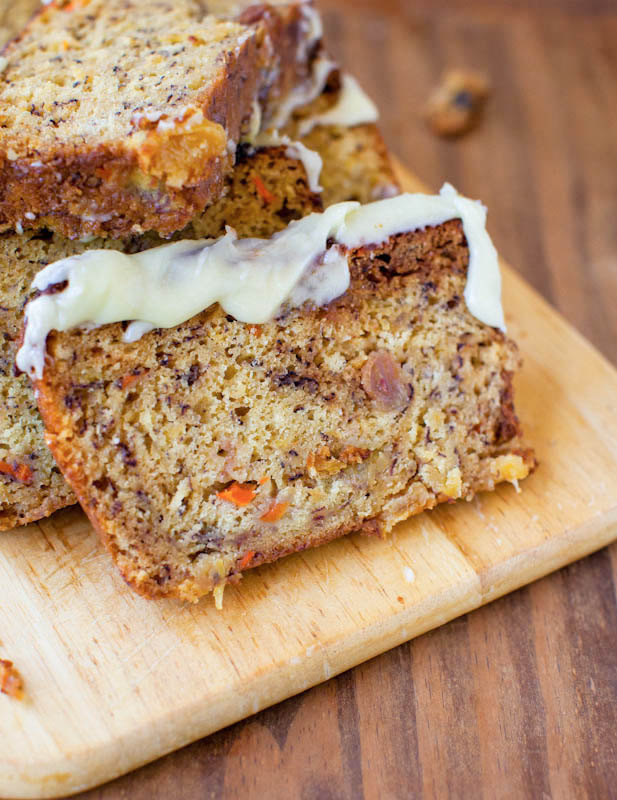 Carrot Pineapple Banana Bread with Browned Butter Cream Cheese Frosting slices