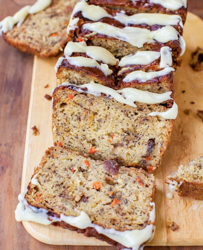 Carrot Pineapple Banana Bread with Browned Butter Cream Cheese Frosting sliced