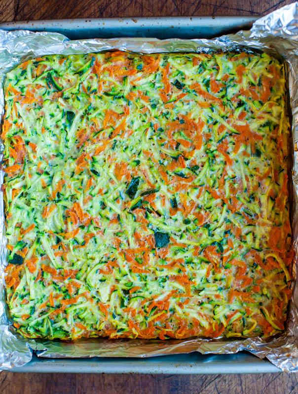 Vegetable Lasagna Casserole in baking pan