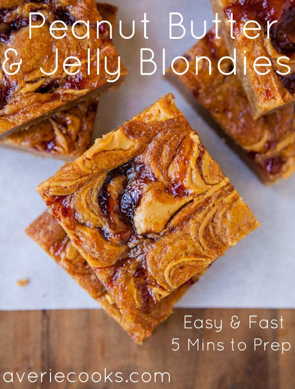 Overhead shot of peanut butter and jelly blondies with graphic title