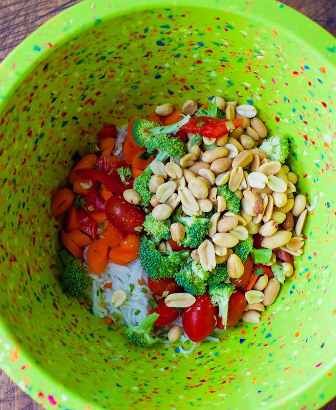 Ingredients in green bowl