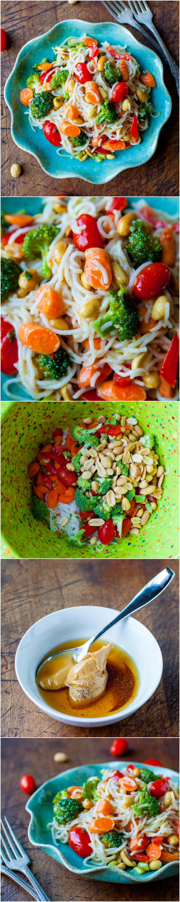 Peanut Noodles with Mixed Vegetables and Peanut Sauce process and blue bowl
