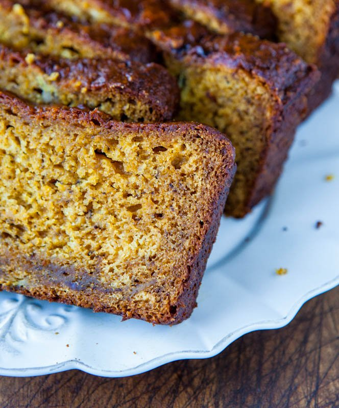 Pumpkin Banana Bread slices on plate