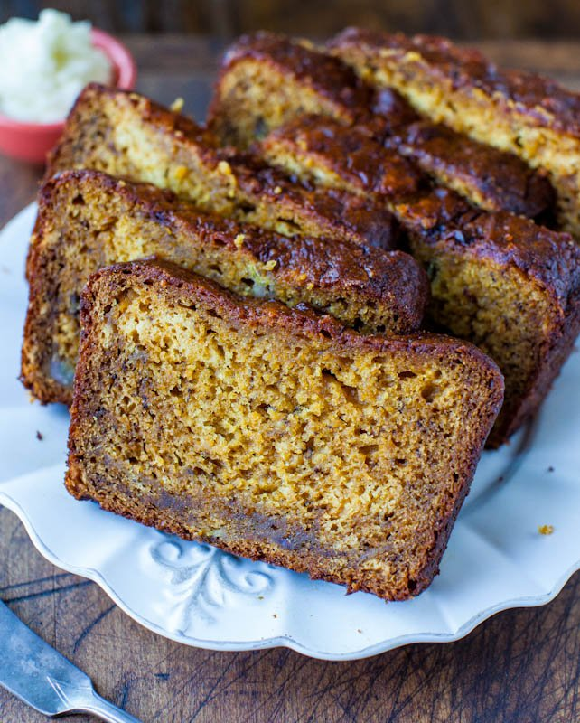 slices of Pumpkin Banana Bread on white plate