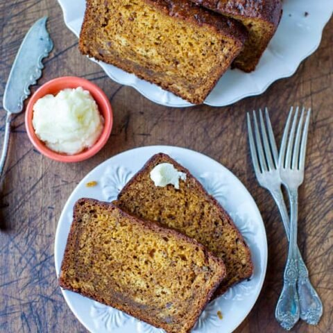 Pumpkin Banana Bread with Browned Butter Frosting