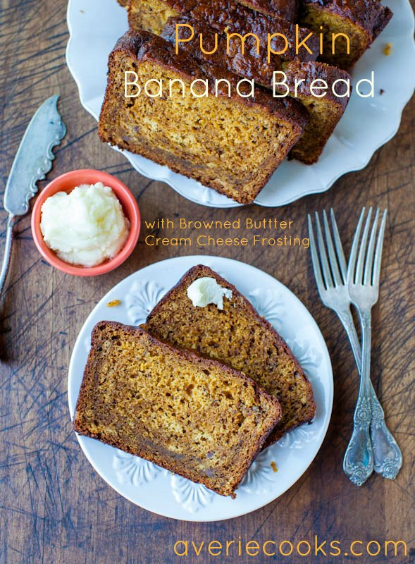 Pumpkin Banana Bread with Browned Butter Cream Cheese Frosting - Soft, fluffy, super moist, and a perfect way to put those ripe bananas to use!! Easy, no mixer recipe!