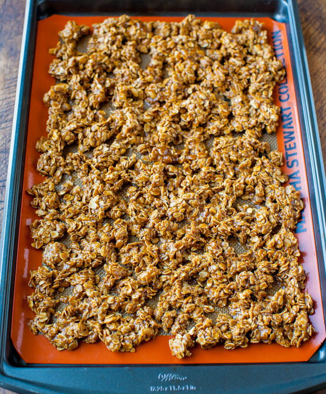Pumpkin Spice Peanut Butter and Chocolate Chip Granola on pan