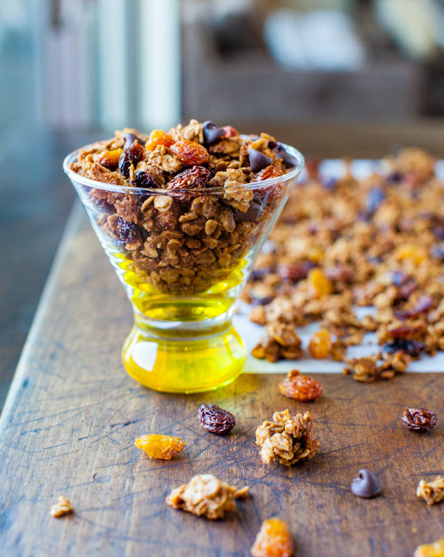 Pumpkin Spice Peanut Butter and Chocolate Chip Granola in glass