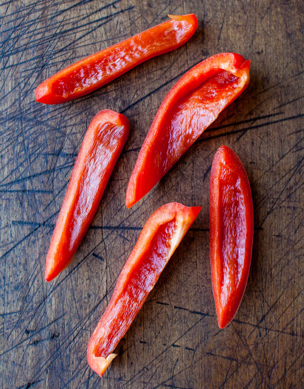 Slices of red peppers