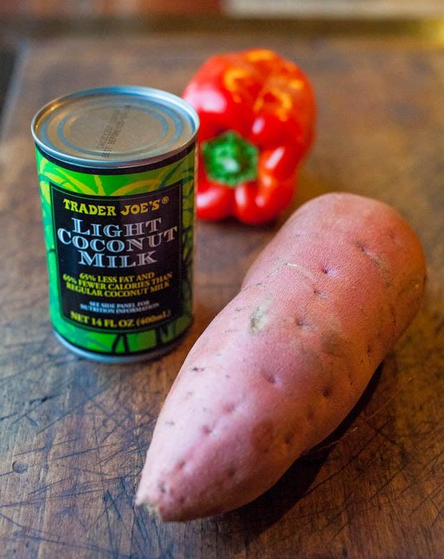 Trader Joe's Light Coconut milk, sweet potato, and red bell pepper