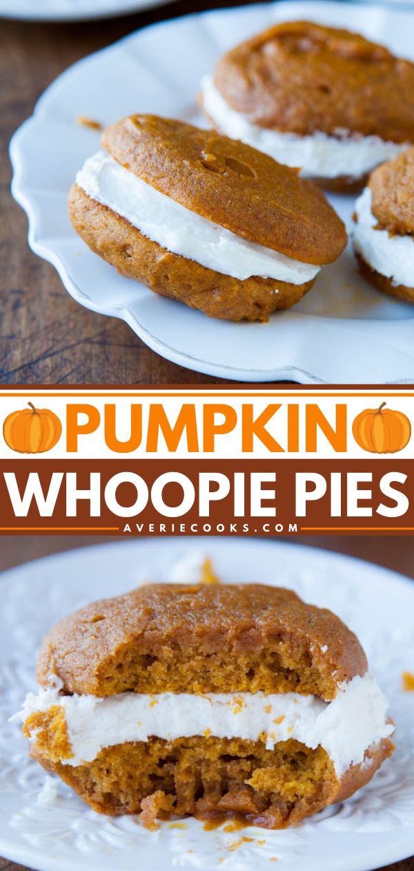 """Pumpkin Whoopie Pies— Soft and tender pumpkin cookies with a thick layer of sweet buttercream sandwiched between them will make you scream """"Whoopie!"""" for one of these fun pies. They're easy and fast to make, moist, and rich!"""
