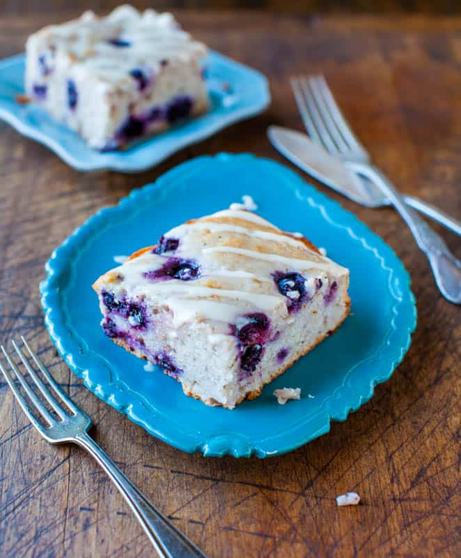 Blueberry Yogurt Cake with Lemon Vanilla Glaze - Averie Cooks