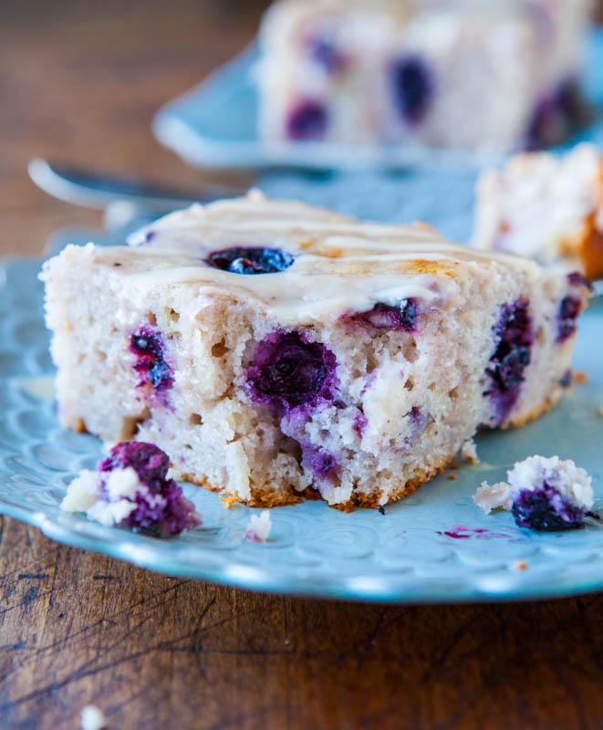 Blueberry Yogurt Cake with Lemon Vanilla Glaze