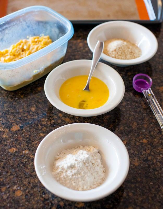 Ingedients - eggs, flour, breadcrumbs, mac and cheese