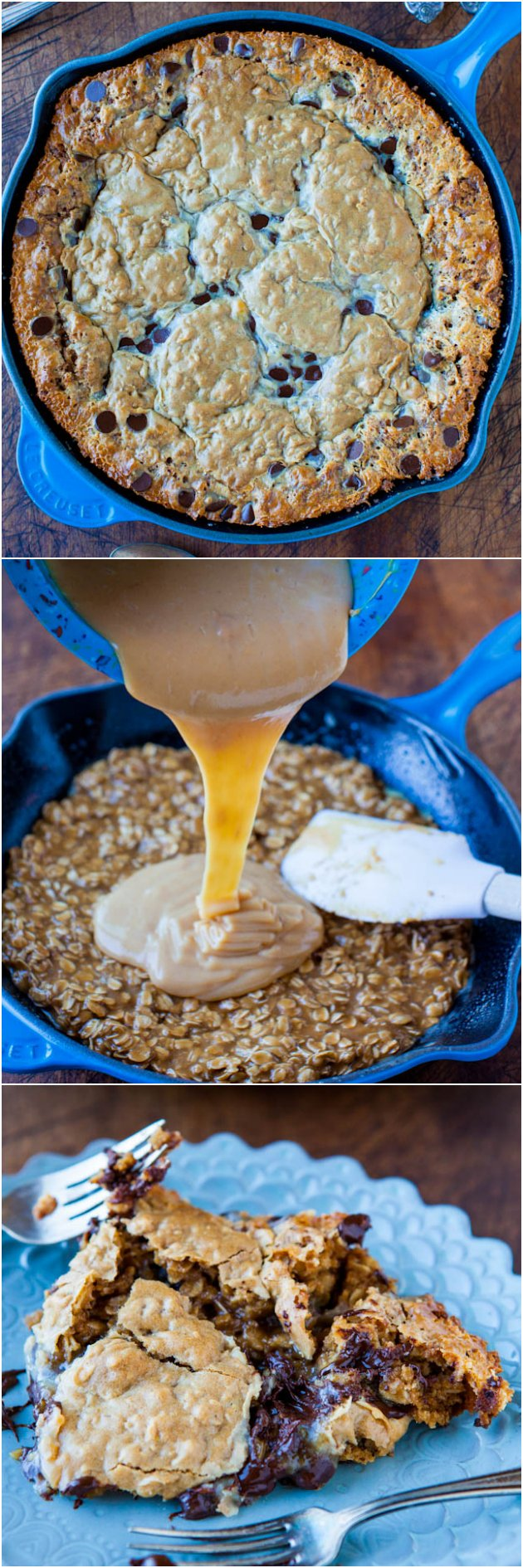 Chocolate Chip Peanut Butter Oatmeal Skillet Cookie - 3 fave cookies combined into 1 giant cookie! So easy & ready in 25 minutes. Pop it in before dinner & enjoy!