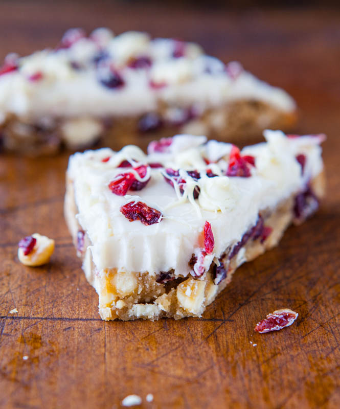 Cranberry Bliss Bar with a bite missing