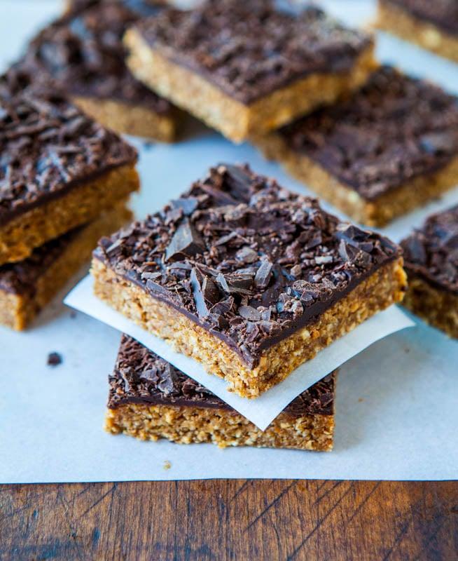 Stacked Cinnamon Oatmeal Date Bars with Chocolate Chunks