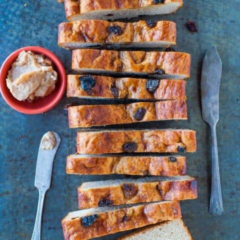Cinnamon Raisin English Muffin Bread with Cinnamon Sugar Butter